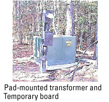 Pad-mounted transformer and temporary board